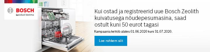 Kui ostad ja registreerid uue Bosch Zeolith kuivatusega nõudepesumasina, saad ostult kuni 50 eurot tagasi